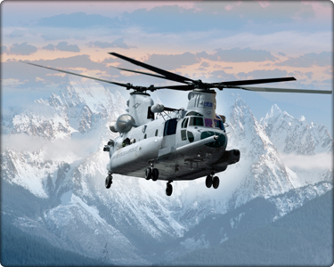 Helicopters over Alps.